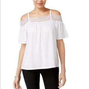 NWT Cable & Gauge Crochet Cold Shoulder Blouse